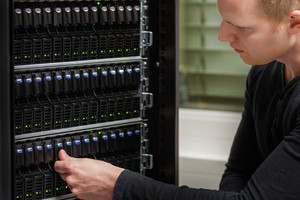 Gigabit network switch and perfect aligned patch cables in datacenter
