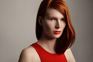 ginger hair model portrait with ideal beauty skin. closeup portrait