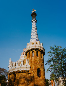 Gingerbread House of Gaudi modernism fairytale in Park Guell, Barcelona, Spain