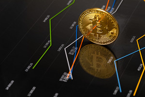 Gold bitcoin standing on financial charts for cryptocurrency prices