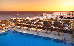 Gorgeous sunset over a resort in the Greek Islands