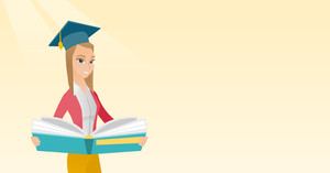 Graduate standing with a big open book in hands. Smiling female student in graduation cap reading a book. Woman holding a book. Concept of education. Vector flat design illustration. Horizontal layout