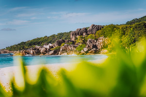 Grand Anse tropical beach in La Digue, Seychelles with its famous granite rock formations. Defocused blur natural green