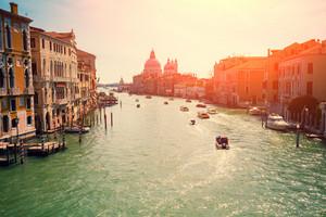 Grand Canal, view on Basilica Santa Maria della Salute, Venice, Italy