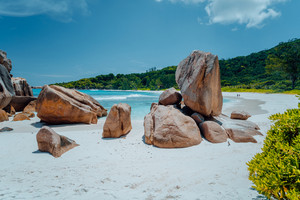 Grand L Anse most unknown but nice beach at La Digue, Seychelles