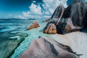 Granite rocks boulders at the best-known Anse Source d'Argent beach on island La Digue in Seychelles. Exotic paradise scenery