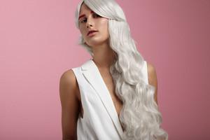 grey hair, creative colour, curvy long hair portrait