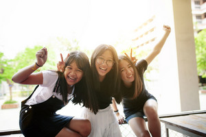 group of asian teenager happiness emotion and relaxing lifestyle