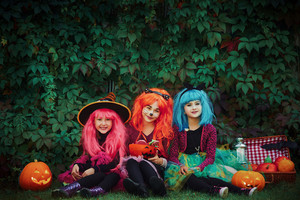 Group of halloween girls looking at camera