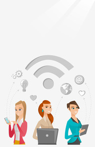 Group of young caucasian business women using technology in global business. Global business and globalization concept. Business technology concept. Vector flat design illustration. Vertical layout.