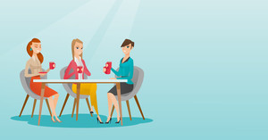 Group of young caucasian friends drinking hot and alcoholic drinks. Three smiling friends hanging out together in a cafe. Friends relaxing in cafe. Vector flat design illustration. Horizontal layout.
