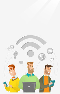 Group of young happy caucasian businessmen using technology in global business. Global business and globalization concept. Business technology concept. Vector flat design illustration. Vertical layout