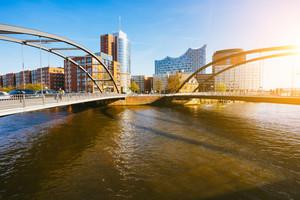 Hamburg, Germany - April 18, 2018: Niederbaumbrucke Bridge in HafenCity, Hamburg, Germany