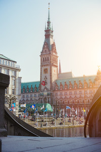 Hamburg, Germany - April 20, 2018: Beautiful view of the Town Hall of Hamburg , Germany