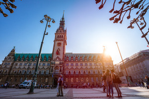 Hamburg, Germany - April 20, 2018: Famous town hall in Hamburg