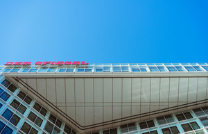 Hamburg Germany - May 16, 2018: Der Spiegel, German Magazine, Headquarter Ericusspitze, SPIEGEL-Verlag Rudolf Augstein GmbH