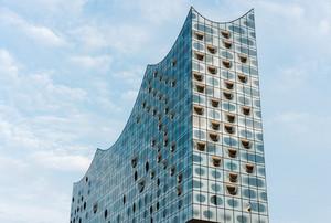 Hamburg, Germany - May 28, 2017: Top shape of Elbphilharmonie with his single white windows, Hamburg, Germany