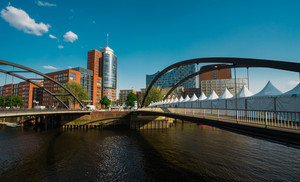 Hamburg, Germany - May 9, 2018: Niederbaumbrucke Bridge in HafenCity on Port Anniversary 2018 Event , Hamburg, Germany