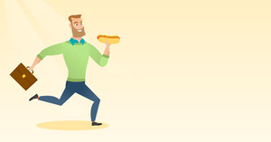 Happy caucasian business man eating hot dog in a hurry. Business man eating on the run. Young business man running with briefcase and eating hot dog. Vector flat design illustration. Horizontal layout
