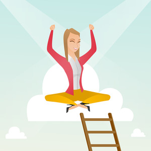 Happy caucasian business woman sitting on a cloud with ledder. Successful business woman relaxing on a cloud. Business woman with rised hands on a cloud. Vector flat design illustration. Square layout