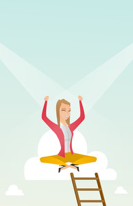 Happy caucasian business woman sitting on cloud with ledder. Successful business woman relaxing on a cloud. Business woman with rised hands on a cloud. Vector flat design illustration. Vertical layout