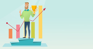 Happy caucasian businessman on a pedestal with business award. Cheerful smiling businessman celebrating business award. Concept of business award. Vector flat design illustration. Horizontal layout.