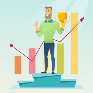 Happy caucasian businessman on a pedestal with business award. Cheerful smiling businessman celebrating his business award. Concept of business award. Vector flat design illustration. Square layout.