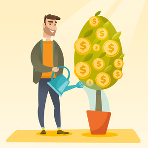 Happy caucasian businessman watering financial tree. Smiling businessman investing in future financial safety. Businessman taking care of finances. Vector flat design illustration. Square layout.