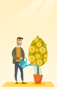 Happy caucasian businessman watering financial tree. Smiling businessman investing in future financial safety. Businessman taking care of finances. Vector flat design illustration. Vertical layout.
