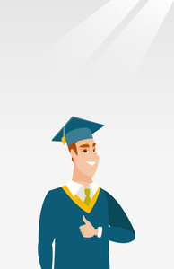 Happy caucasian graduate in cloak and graduation cap. Successful graduate giving thumb up. Graduate celebrating graduation. Concept of education. Vector flat design illustration. Vertical layout.