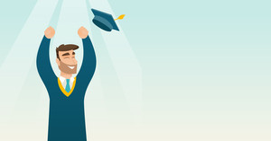 Happy caucasian graduate throwing up hat. Excited graduate in cloak and graduation hat. Cheerful graduate with hands raised celebrating graduation. Vector flat design illustration. Horizontal layout.