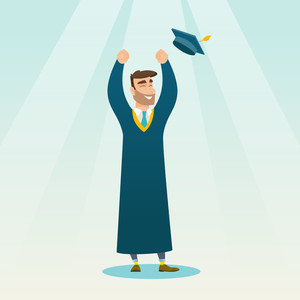 Happy caucasian graduate throwing up his hat. Excited graduate in cloak and graduation hat. Cheerful graduate with hands raised celebrating graduation. Vector flat design illustration. Square layout.