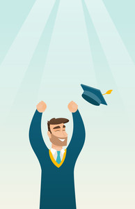 Happy caucasian graduate throwing up his hat. Excited graduate in cloak and graduation hat. Cheerful graduate with hands raised celebrating graduation. Vector flat design illustration. Vertical layout