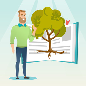 Happy caucasian student standing on the background of tree growing from open book. Cheerful student pointing at tree of knowledge. Concept of education. Vector flat design illustration. Square layout.