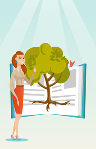 Happy caucasian student standing on the background of tree growing from open book. Cheerful student pointing at tree of knowledge. Education concept. Vector flat design illustration. Vertical layout.