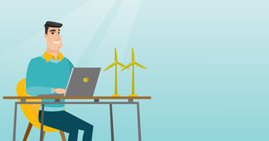 Happy caucasian worker of wind farm working on a laptop. Engineer projecting wind turbine in office. Engineer working on a model of the wind turbine. Vector flat design illustration. Horizontal layout