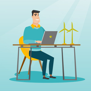 Happy caucasian worker of wind farm working on a laptop. Engineer projecting wind turbine in office. Engineer working on a model of the wind turbine. Vector flat design illustration. Square layout.