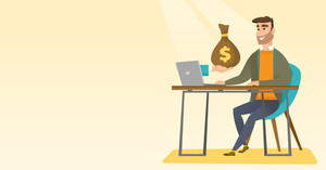 Happy hipster businessman getting bag of money from his laptop. Caucasian businessman earning money from online business. Online business concept. Vector flat design illustration. Horizontal layout.