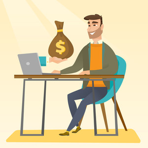 Happy hipster businessman getting bag of money from his laptop. Caucasian businessman earning money from online business. Online business concept. Vector flat design illustration. Square layout.