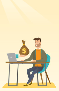Happy hipster businessman getting bag of money from his laptop. Caucasian businessman earning money from online business. Online business concept. Vector flat design illustration. Vertical layout.