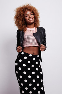 happy smiling black woman with blonde hair
