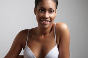 happy woman in a underwear