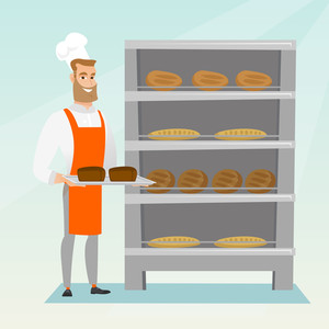 Happy young caucasian baker holding a tray with bread in a bakery. Confident baker standing near the bread rack. Smiling baker holding a baking tray. Vector flat design illustration. Square layout.