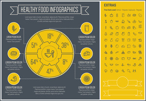 Healthy Food infographic template and elements. The template includes the following set of icons - pumpkin, pineapple, potato, grape, banana, pork, chicken and more. Modern minimalistic flat thin line vector design.