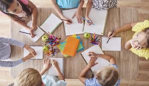 High angle view of drawing kids