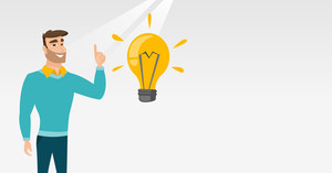 Hipster caucasian student pointing finger up at idea bulb. Young excited student with bright idea bulb. Smart smiling student having a great idea. Vector flat design illustration. Horizontal layout.