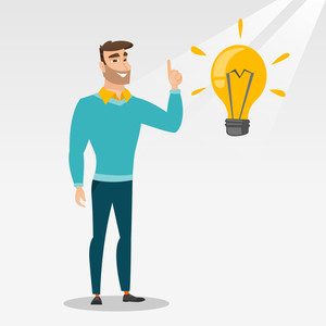 Hipster caucasian student pointing finger up at the idea bulb. Young excited student with bright idea bulb. Smart smiling student having a great idea. Vector flat design illustration. Square layout.