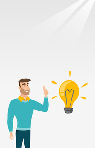 Hipster caucasian student pointing finger up at the idea bulb. Young excited student with bright idea bulb. Smart smiling student having a great idea. Vector flat design illustration. Vertical layout.