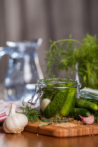Homemade pickled cucumbers with garlic