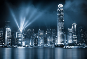 Hong Kong lit up at night